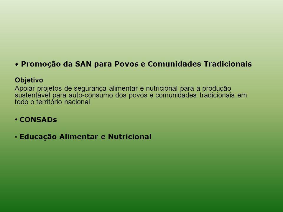 CONSADs Promoção da SAN para Povos e Comunidades Tradicionais Objetivo