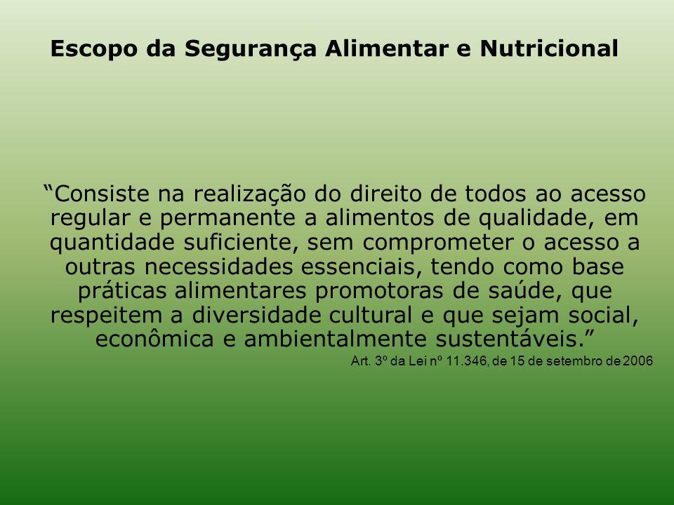 Escopo da Segurança Alimentar e Nutricional