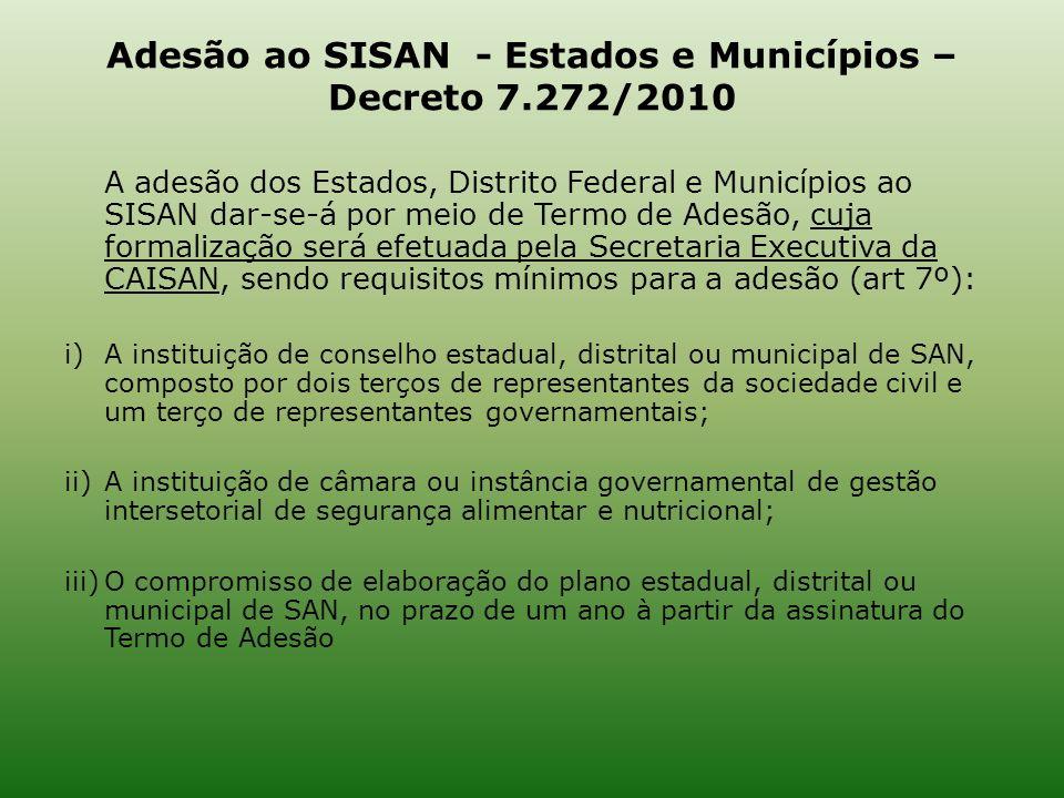 Adesão ao SISAN - Estados e Municípios – Decreto 7.272/2010