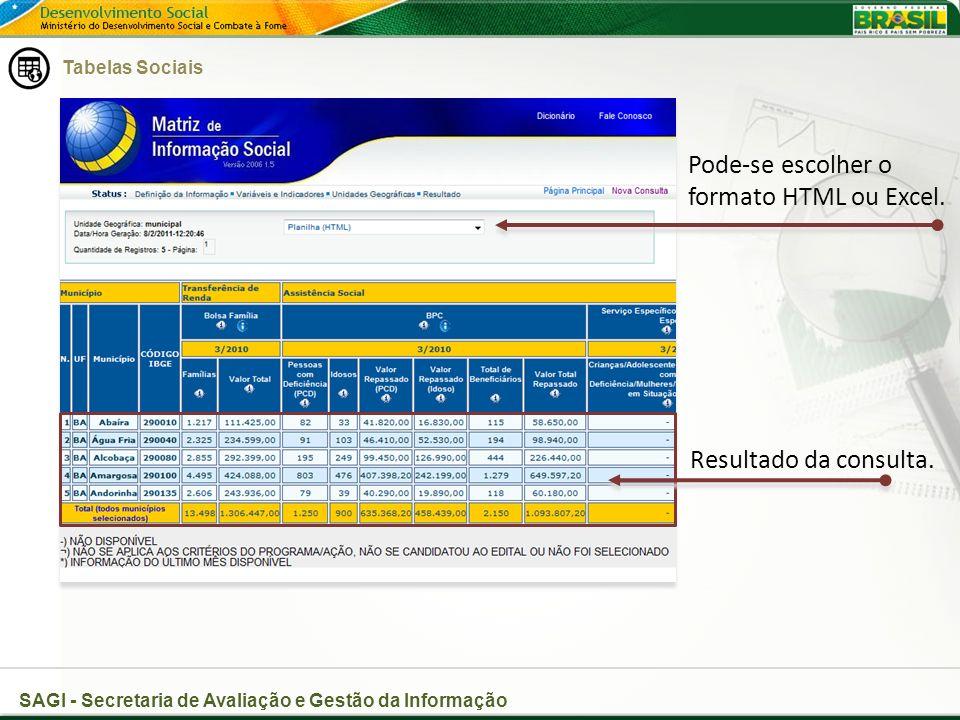 Pode-se escolher o formato HTML ou Excel.