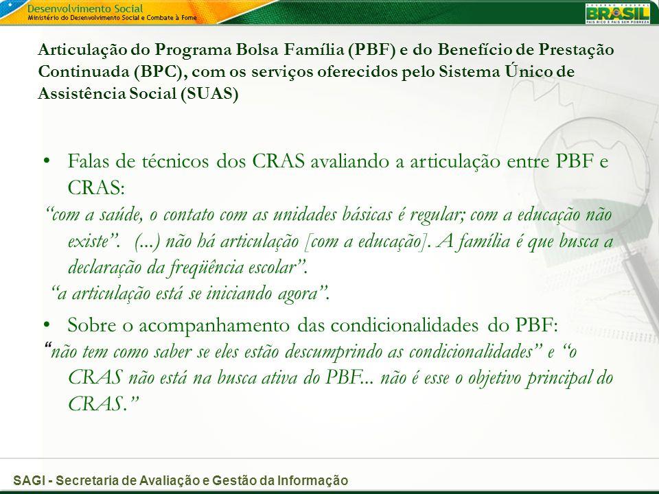 Falas de técnicos dos CRAS avaliando a articulação entre PBF e CRAS: