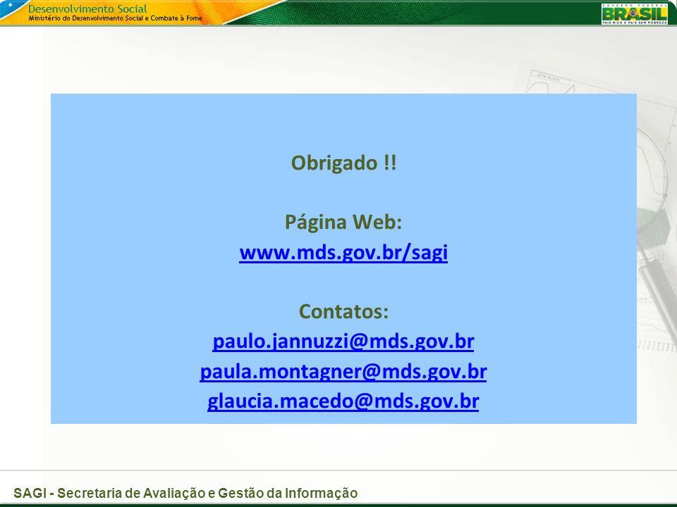 Obrigado !! Página Web: www.mds.gov.br/sagi. Contatos: paulo.jannuzzi@mds.gov.br. paula.montagner@mds.gov.br.