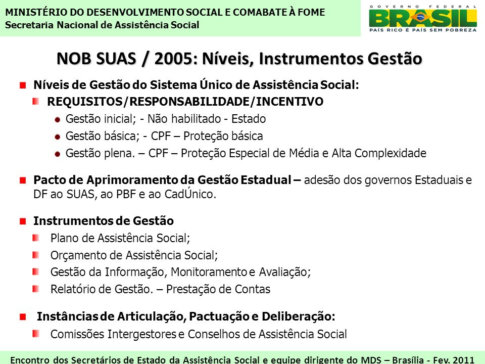 NOB SUAS / 2005: Níveis, Instrumentos Gestão