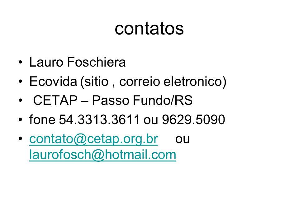 contatos Lauro Foschiera Ecovida (sitio , correio eletronico)