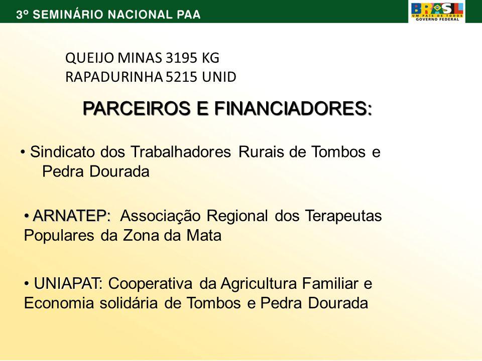 PARCEIROS E FINANCIADORES: