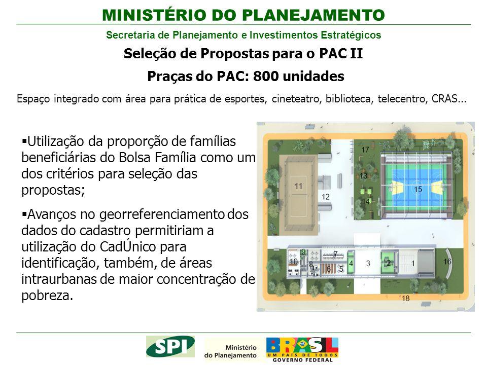Seleção de Propostas para o PAC II Praças do PAC: 800 unidades