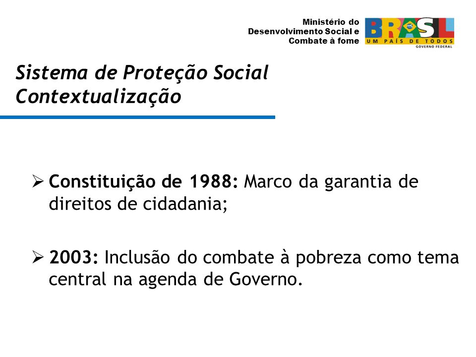 Sistema de Proteção Social Contextualização