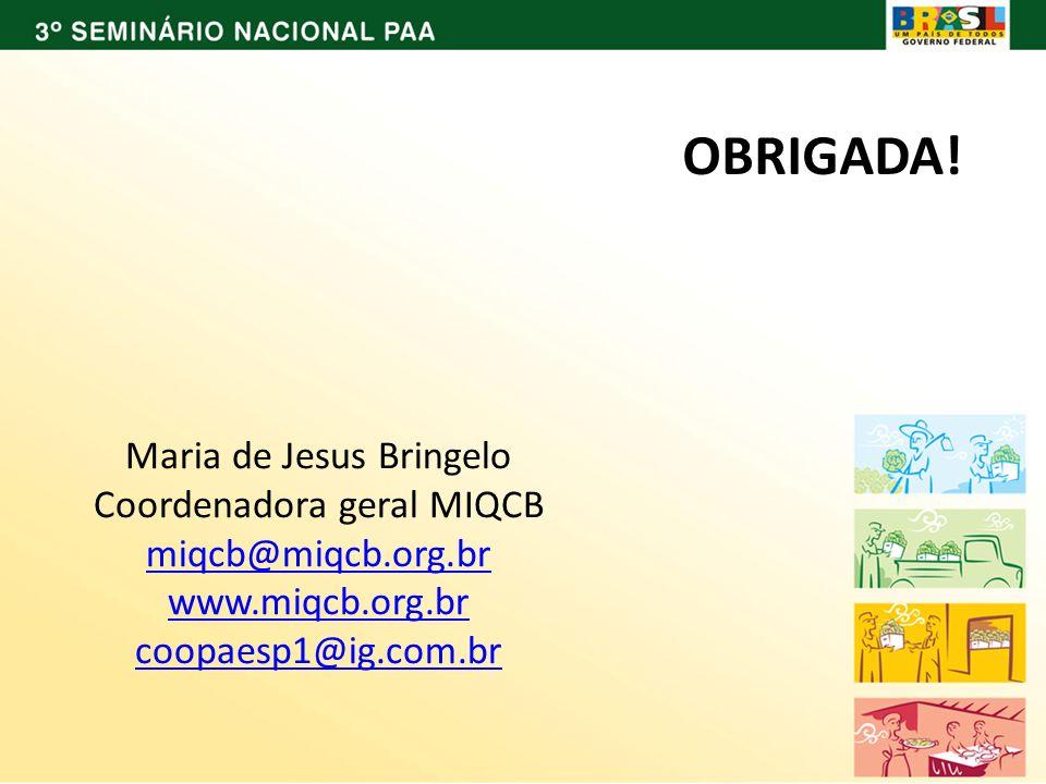 OBRIGADA! Maria de Jesus Bringelo Coordenadora geral MIQCB