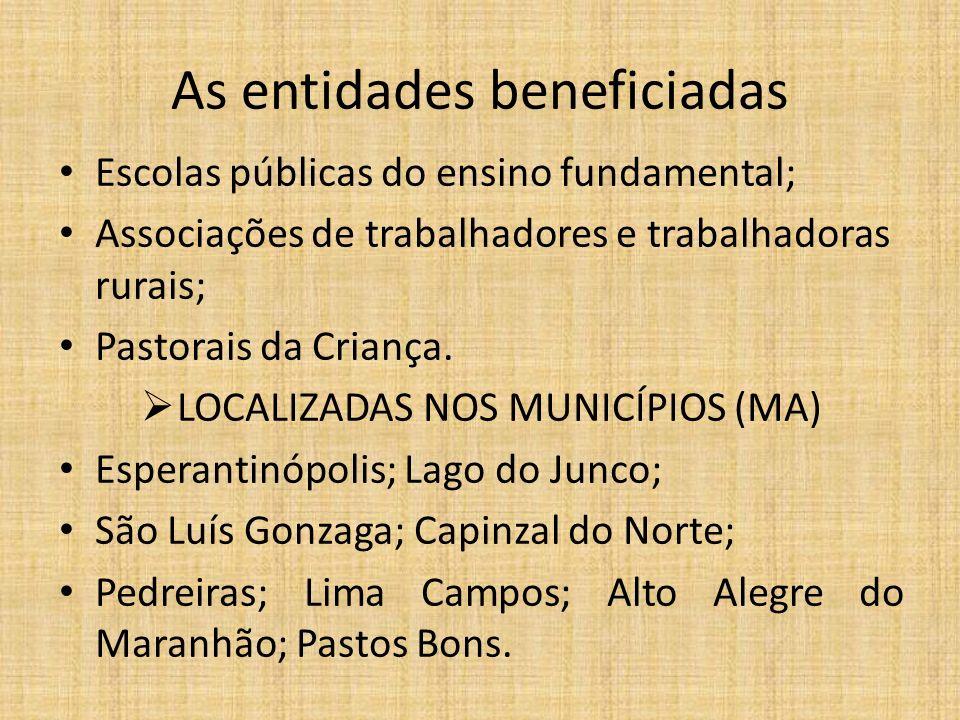 As entidades beneficiadas
