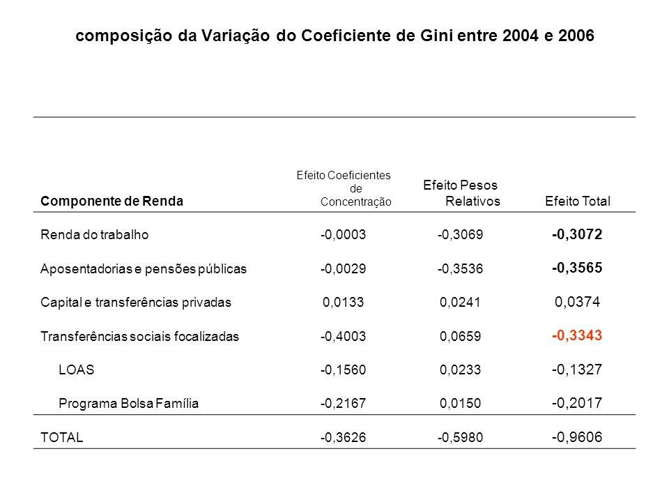 composição da Variação do Coeficiente de Gini entre 2004 e 2006