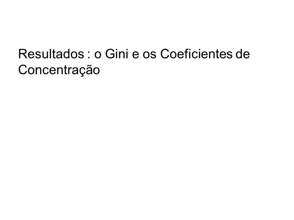 Resultados : o Gini e os Coeficientes de Concentração