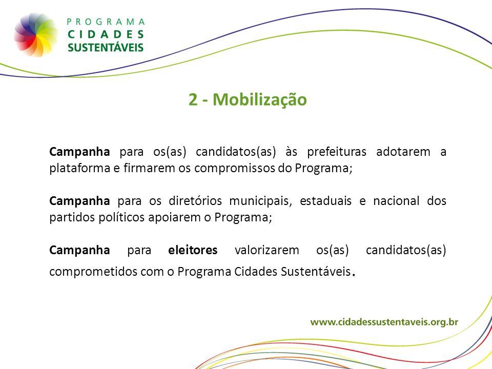2 - Mobilização Campanha para os(as) candidatos(as) às prefeituras adotarem a plataforma e firmarem os compromissos do Programa;