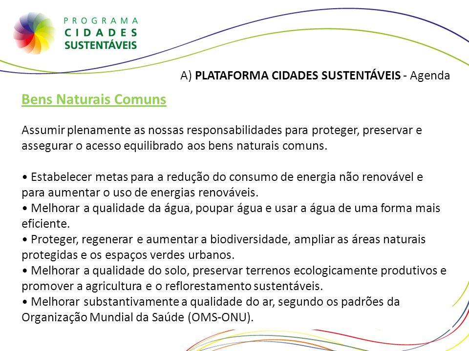 Bens Naturais Comuns A) PLATAFORMA CIDADES SUSTENTÁVEIS - Agenda