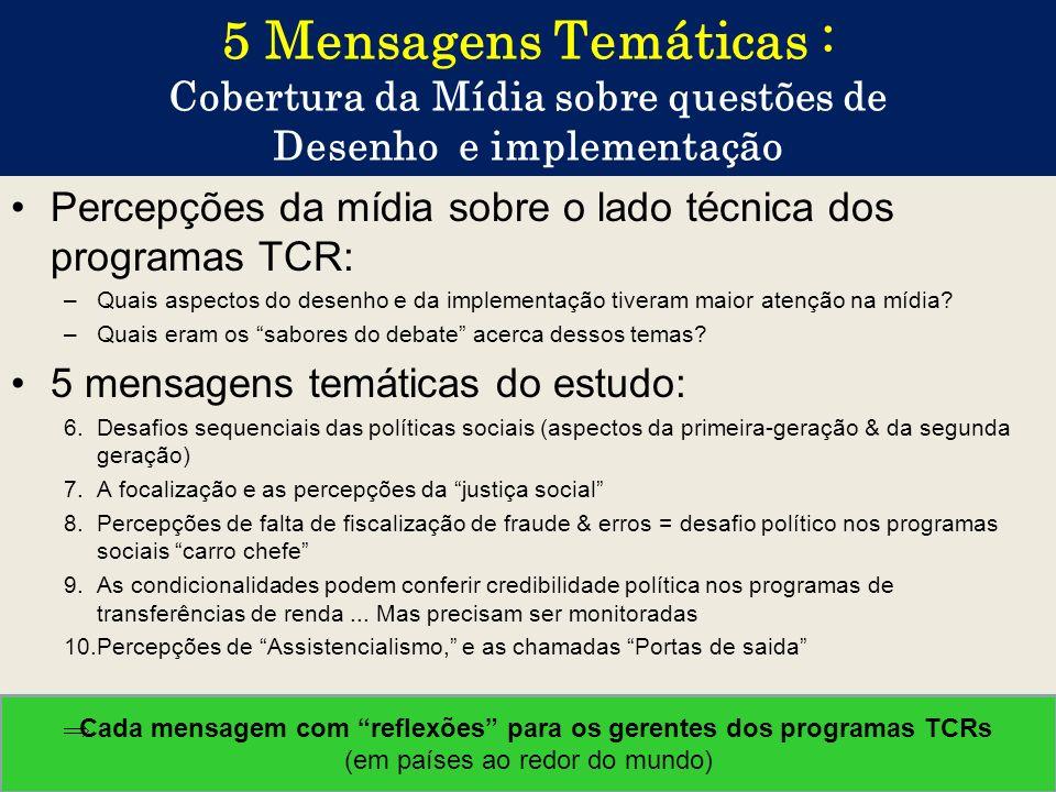 Cada mensagem com reflexões para os gerentes dos programas TCRs