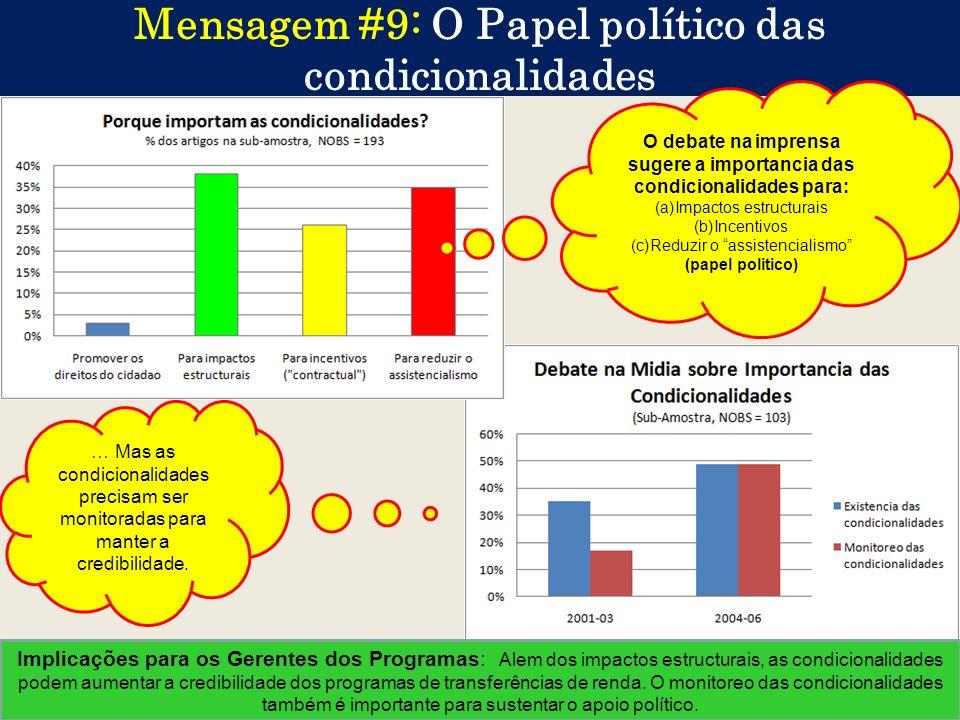 Mensagem #9: O Papel político das condicionalidades