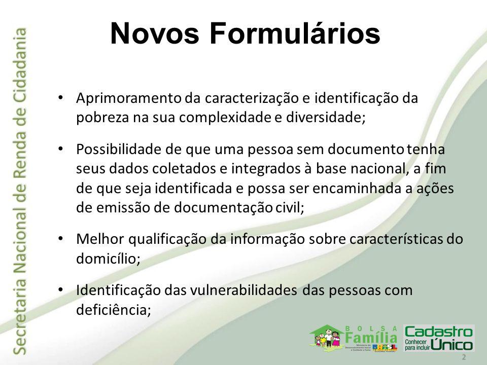 Novos Formulários Aprimoramento da caracterização e identificação da pobreza na sua complexidade e diversidade;