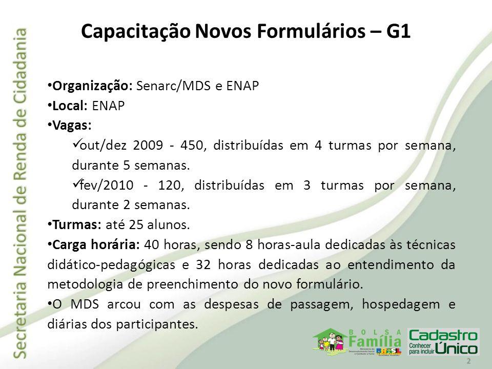 Capacitação Novos Formulários – G1