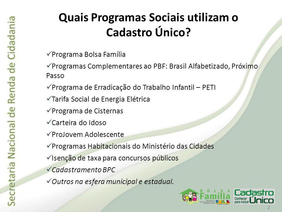 Quais Programas Sociais utilizam o Cadastro Único