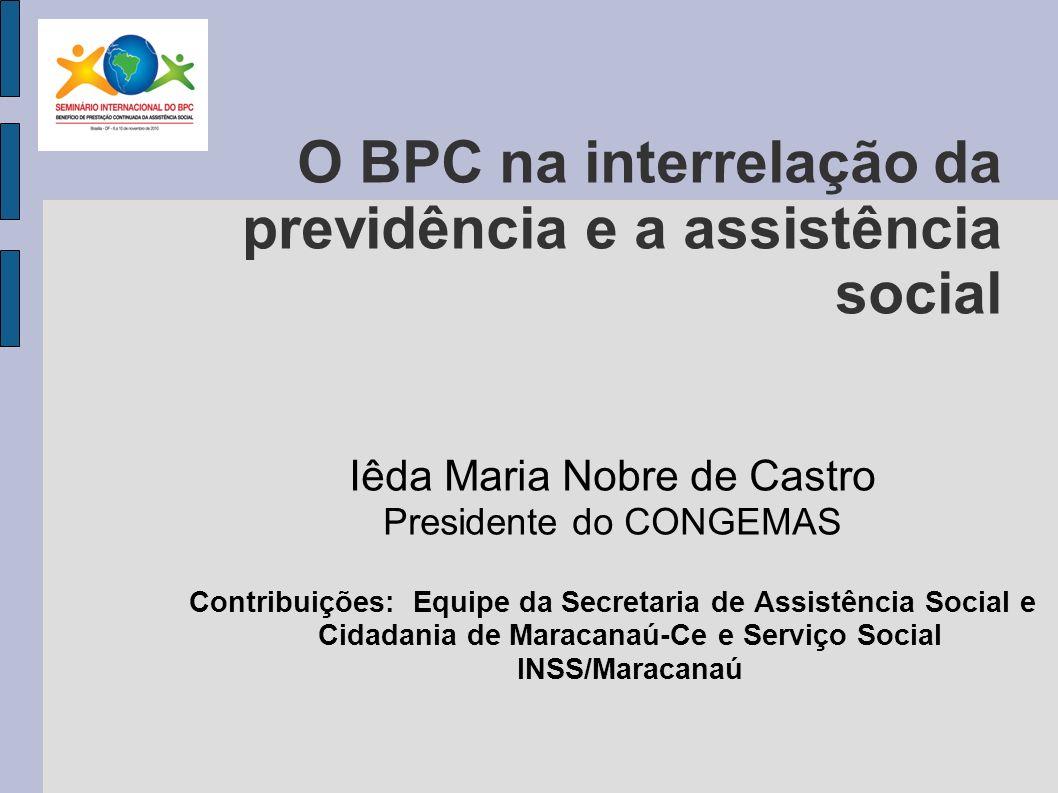 O BPC na interrelação da previdência e a assistência social
