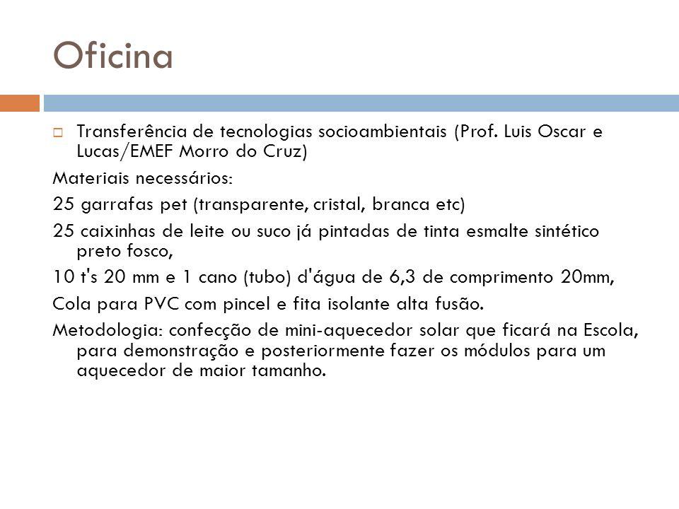 Oficina Transferência de tecnologias socioambientais (Prof. Luis Oscar e Lucas/EMEF Morro do Cruz)