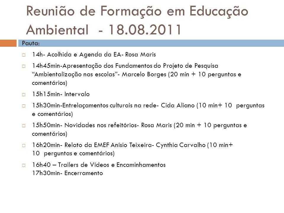 Reunião de Formação em Educação Ambiental - 18.08.2011