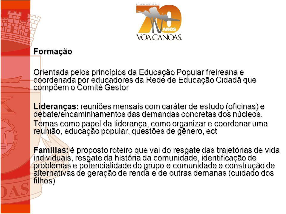Formação Orientada pelos princípios da Educação Popular freireana e coordenada por educadores da Rede de Educação Cidadã que compõem o Comitê Gestor.