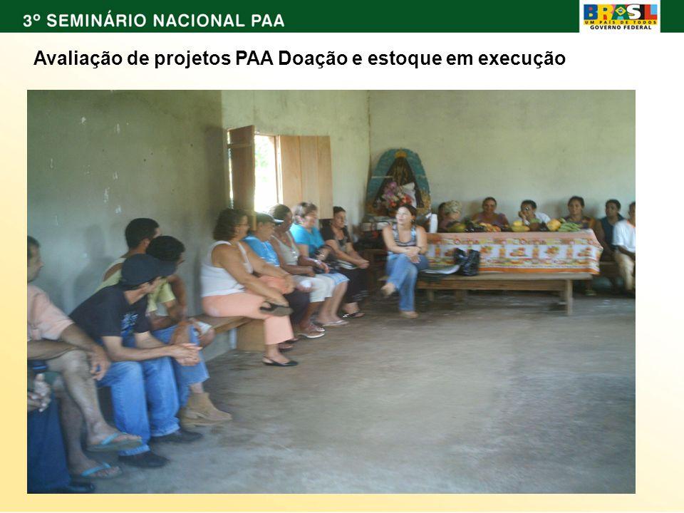 Avaliação de projetos PAA Doação e estoque em execução