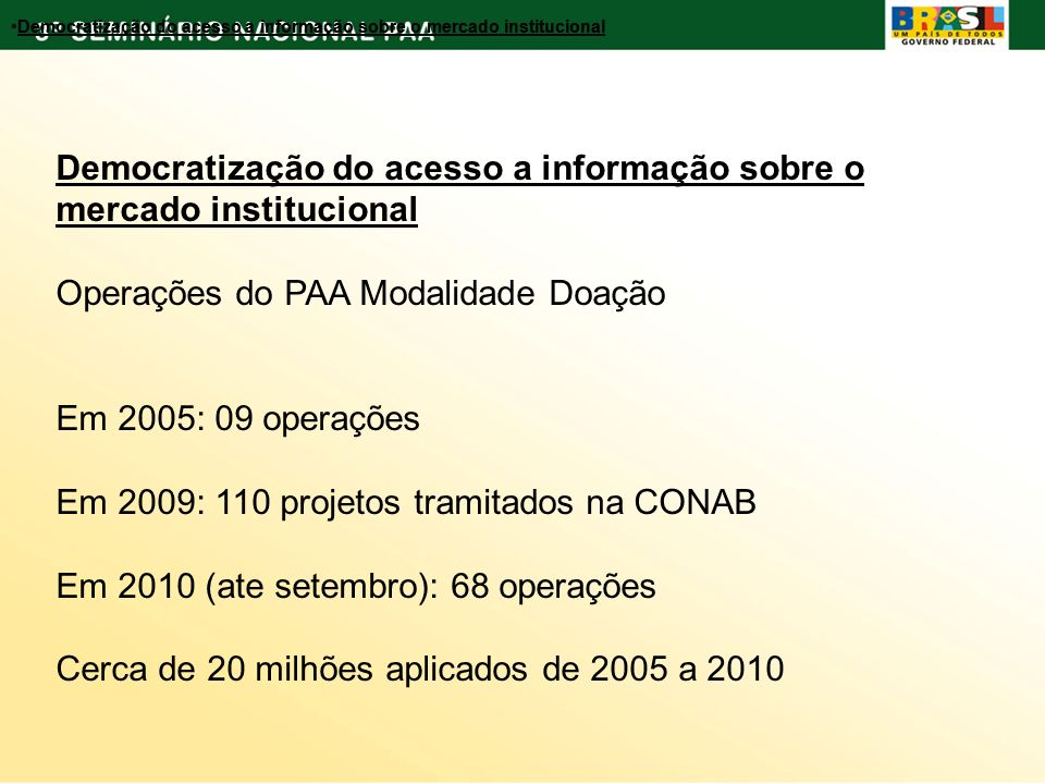 Democratização do acesso a informação sobre o mercado institucional