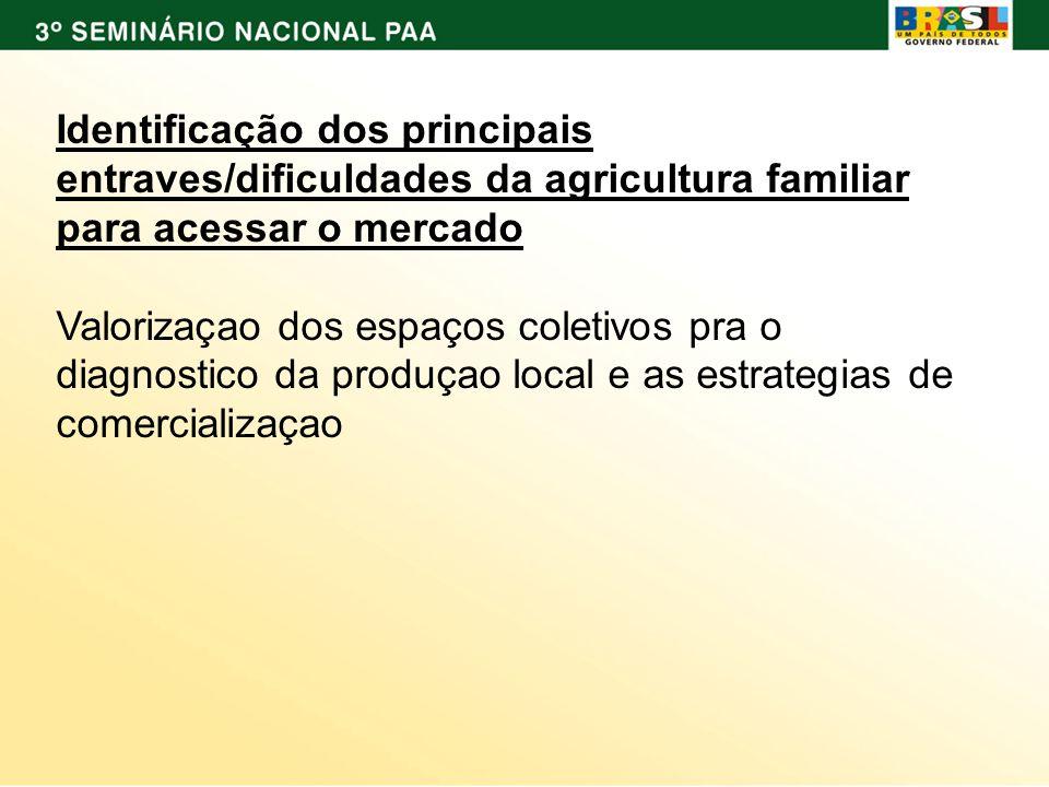 Identificação dos principais entraves/dificuldades da agricultura familiar para acessar o mercado