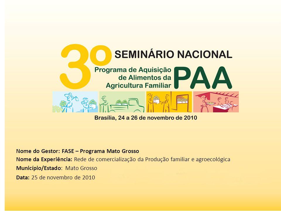Nome do Gestor: FASE – Programa Mato Grosso