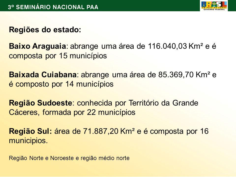 Região Sul: área de 71.887,20 Km² e é composta por 16 municipios.