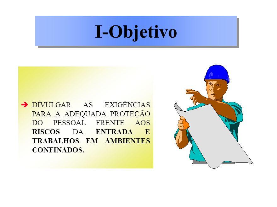 I-Objetivo DIVULGAR AS EXIGÊNCIAS PARA A ADEQUADA PROTEÇÃO DO PESSOAL FRENTE AOS RISCOS DA ENTRADA E TRABALHOS EM AMBIENTES CONFINADOS.