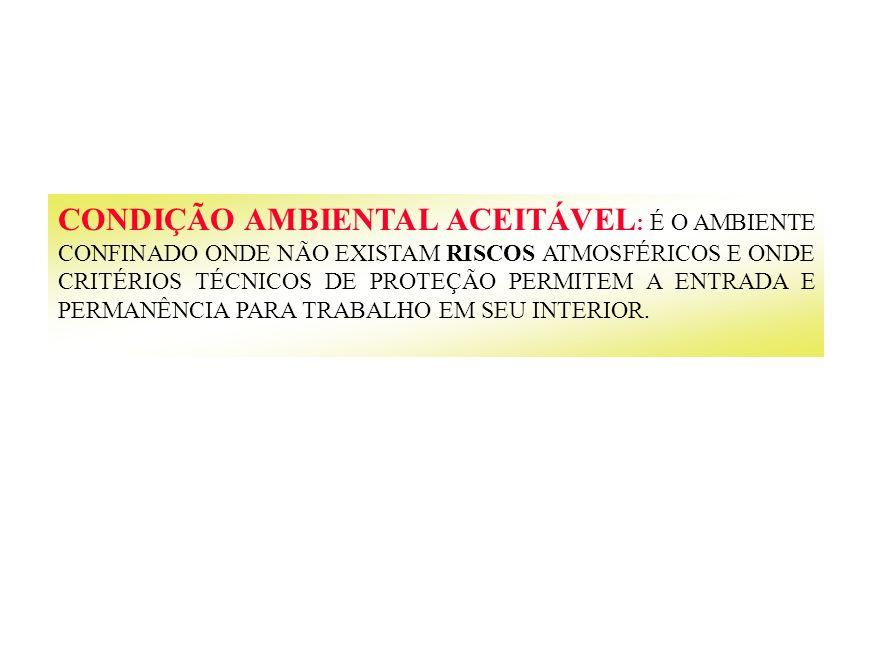 CONDIÇÃO AMBIENTAL ACEITÁVEL: É O AMBIENTE CONFINADO ONDE NÃO EXISTAM RISCOS ATMOSFÉRICOS E ONDE CRITÉRIOS TÉCNICOS DE PROTEÇÃO PERMITEM A ENTRADA E PERMANÊNCIA PARA TRABALHO EM SEU INTERIOR.