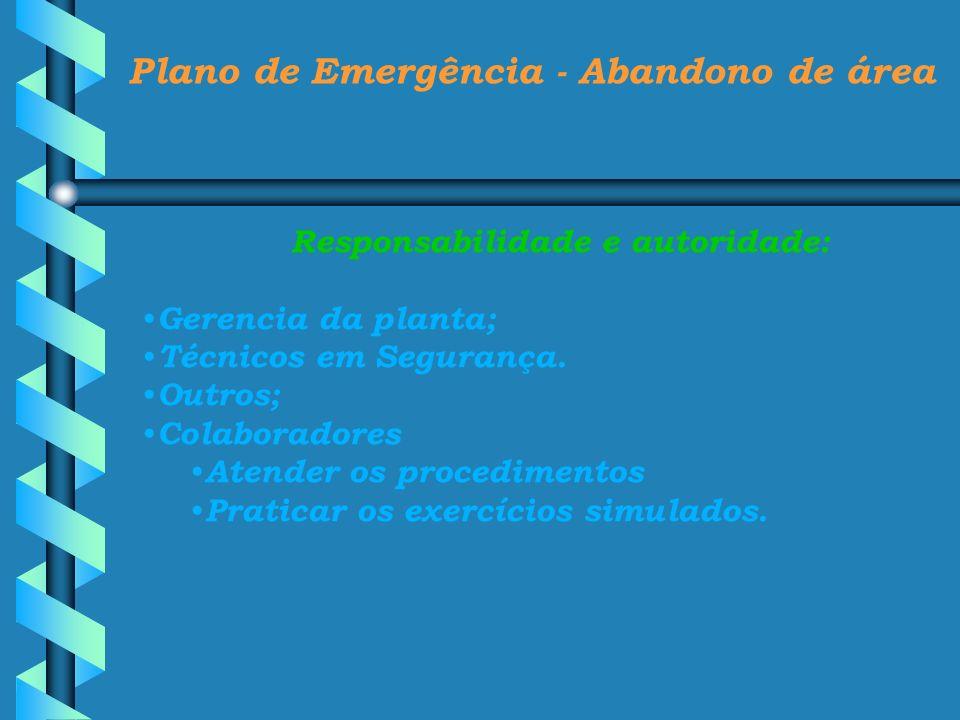 Plano de Emergência - Abandono de área Responsabilidade e autoridade: