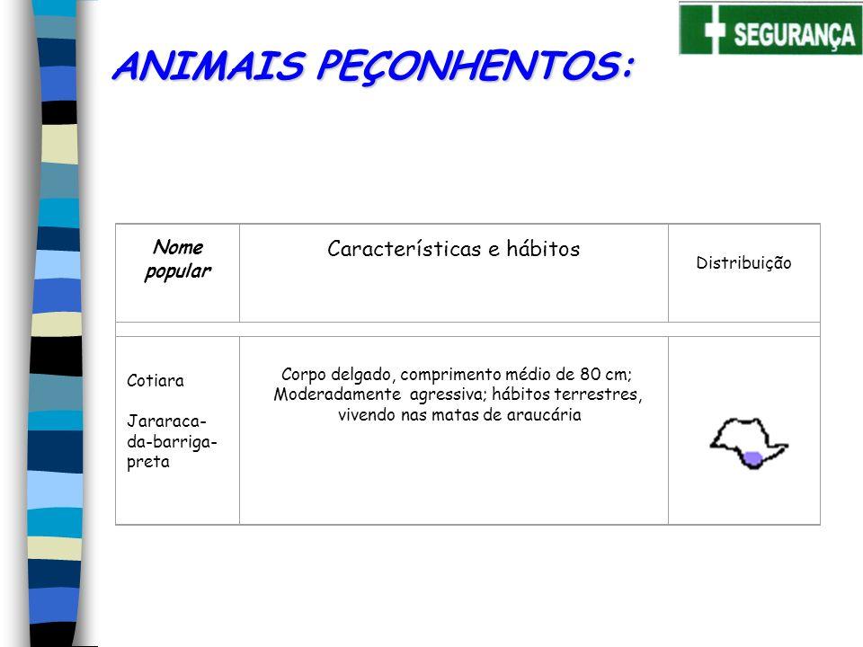 ANIMAIS PEÇONHENTOS: Características e hábitos Nome popular
