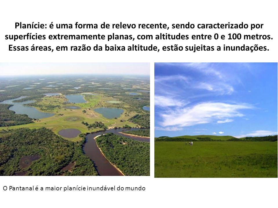 Planície: é uma forma de relevo recente, sendo caracterizado por superfícies extremamente planas, com altitudes entre 0 e 100 metros. Essas áreas, em razão da baixa altitude, estão sujeitas a inundações.