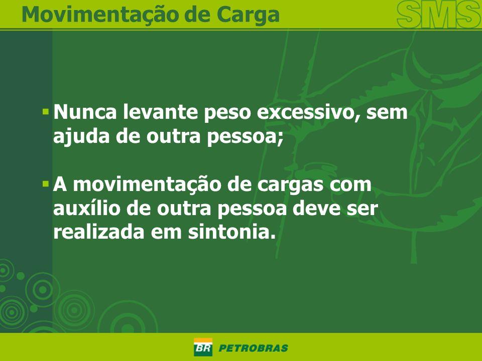 Movimentação de CargaNunca levante peso excessivo, sem ajuda de outra pessoa;