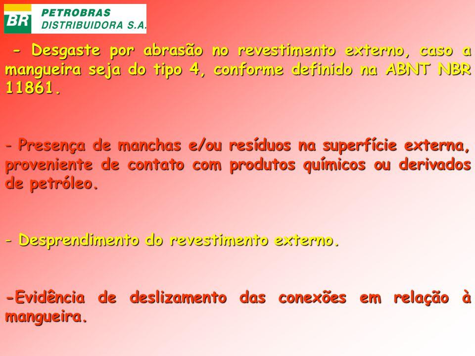 - Desgaste por abrasão no revestimento externo, caso a mangueira seja do tipo 4, conforme definido na ABNT NBR 11861.