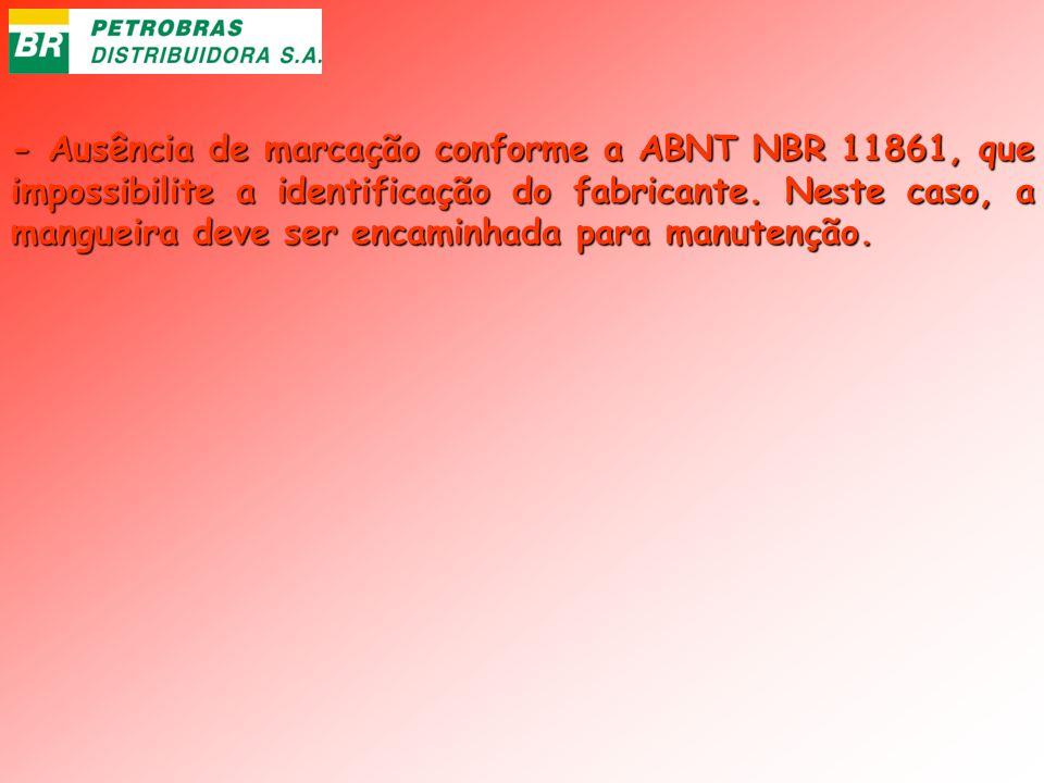 - Ausência de marcação conforme a ABNT NBR 11861, que impossibilite a identificação do fabricante.