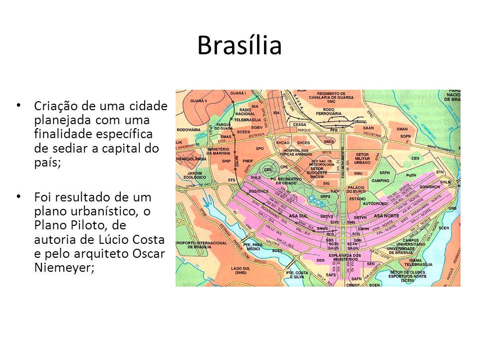Brasília Criação de uma cidade planejada com uma finalidade específica de sediar a capital do país;