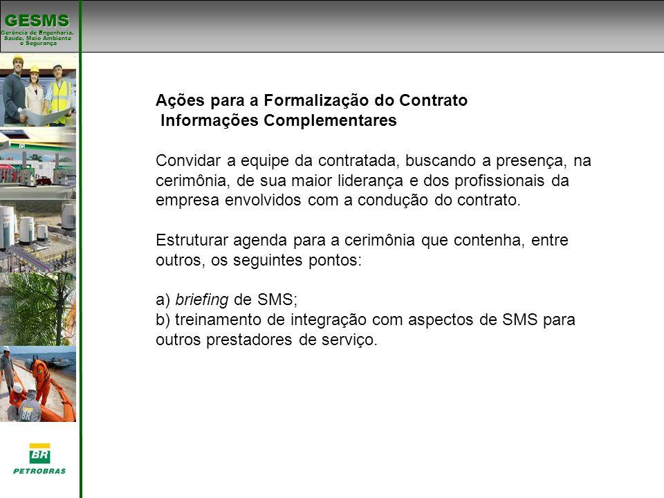 Ações para a Formalização do Contrato Informações Complementares