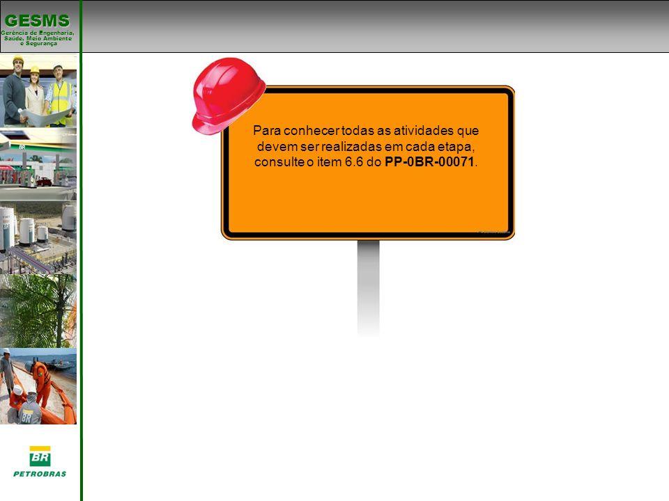 Para conhecer todas as atividades que devem ser realizadas em cada etapa, consulte o item 6.6 do PP-0BR-00071.