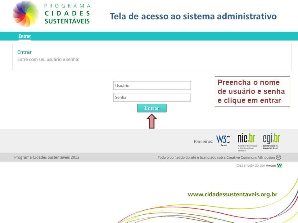 Tela de acesso ao sistema administrativo