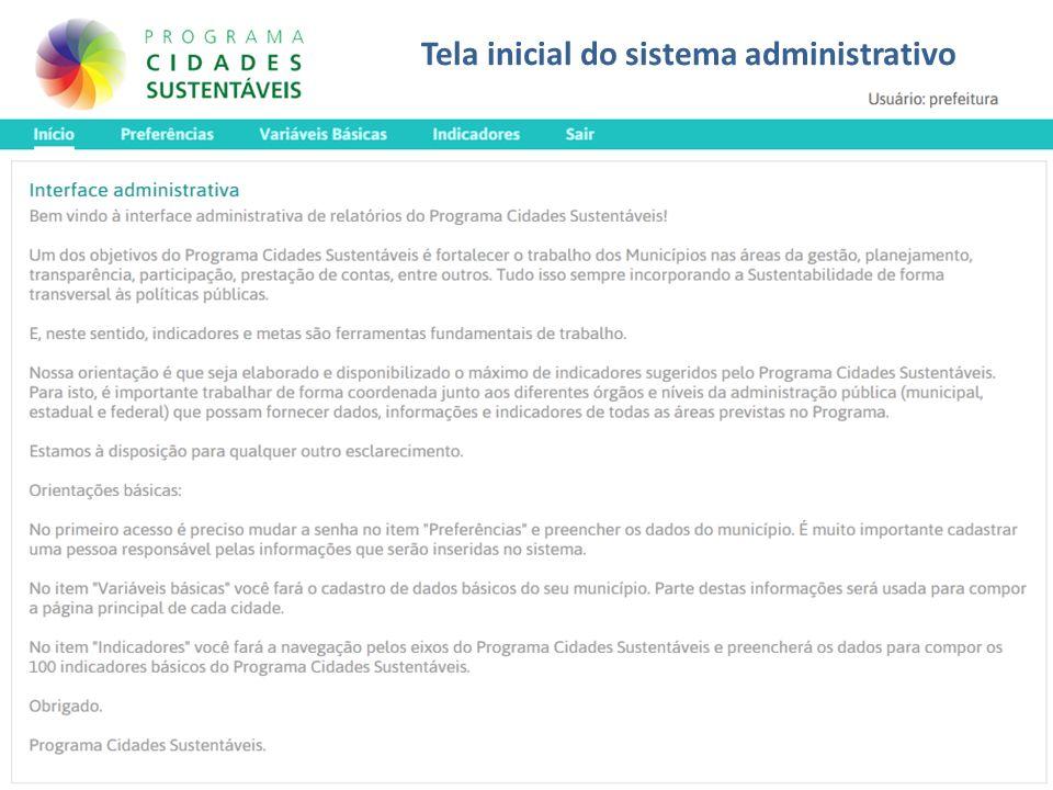Tela inicial do sistema administrativo