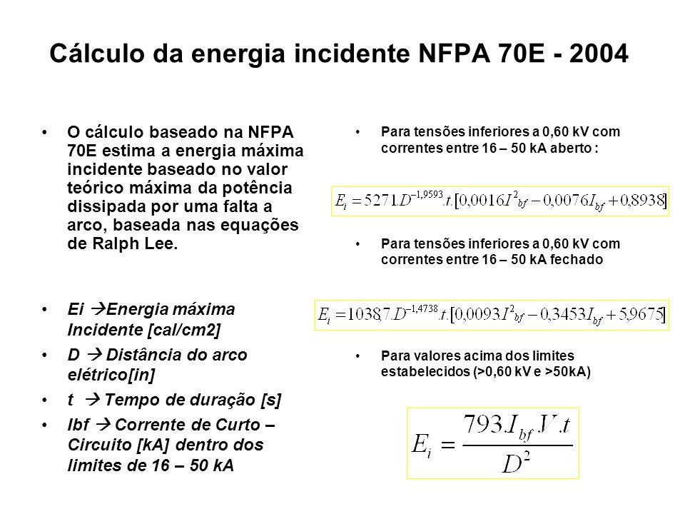 Cálculo da energia incidente NFPA 70E - 2004