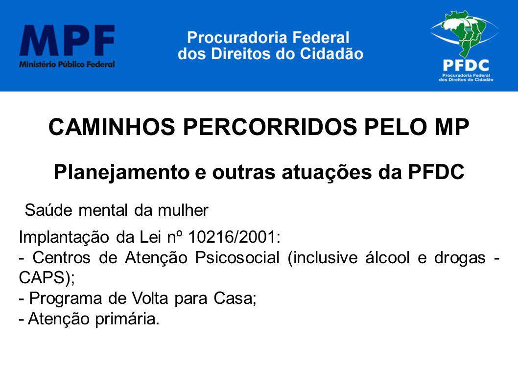 CAMINHOS PERCORRIDOS PELO MP Planejamento e outras atuações da PFDC