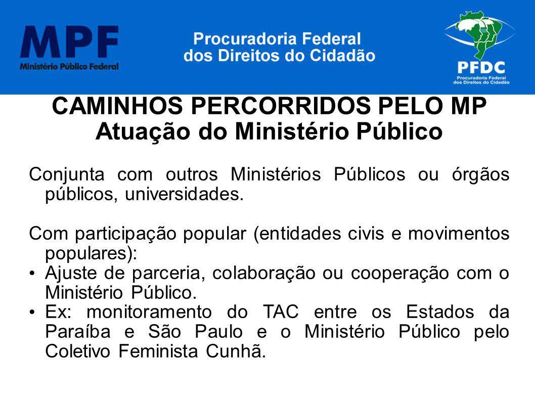 CAMINHOS PERCORRIDOS PELO MP Atuação do Ministério Público