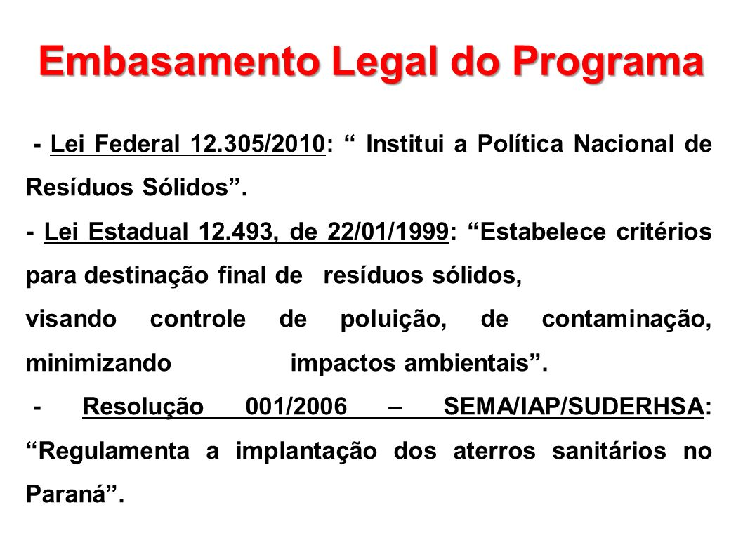 Embasamento Legal do Programa