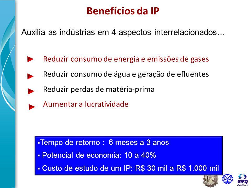 Benefícios da IP Auxilia as indústrias em 4 aspectos interrelacionados… Reduzir consumo de energia e emissões de gases.