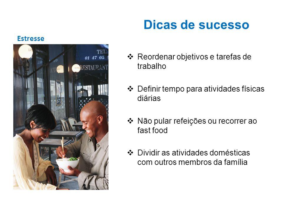 Dicas de sucesso Estresse Reordenar objetivos e tarefas de trabalho